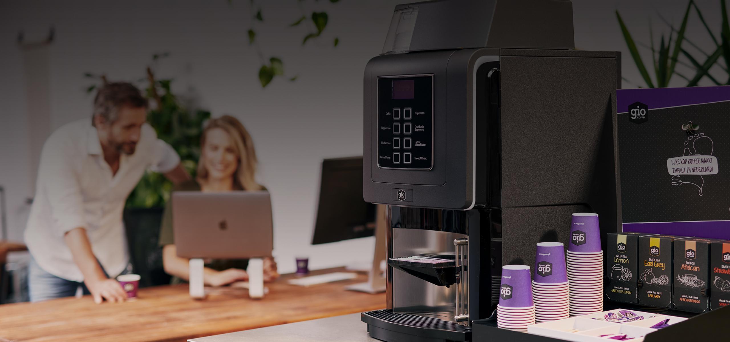 Gio Coffee koffiemachine op proef op kantoor