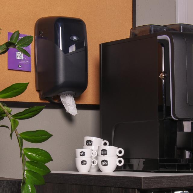 Gio Coffee pappierroldispenser voor een complete koffiecorner