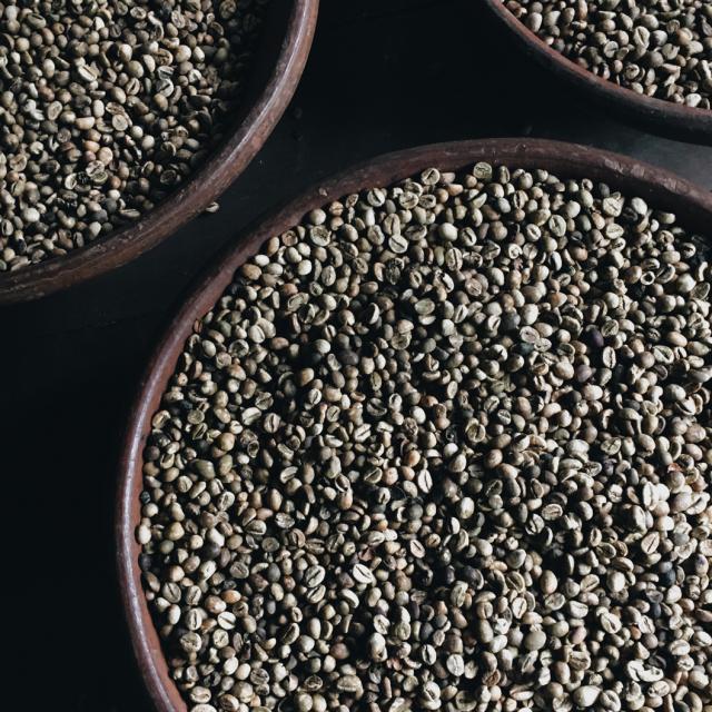 Ongebrande koffiebonen voor de koffiemelanges voor Gio Coffee